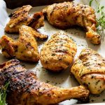 Chicken grilled with a mustard and herb marinade.