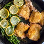 Chicken Thighs with Lemon Pepper Seasoning and Fresh Green Beans